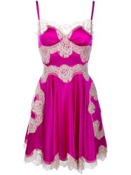Dolce And Gabbana Silk And Lace Slip Dress Pink And Purple