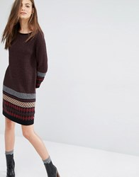 Boss Orange By Hugo Weena Long Sleeve Knitted Dress With Print Brown