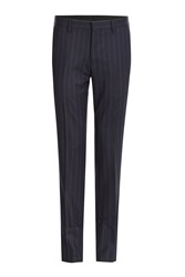 Etro Pinstriped Wool Pants Blue