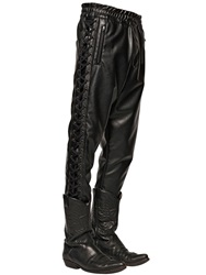 Faith Connexion Lace Up Faux Leather Pants Black