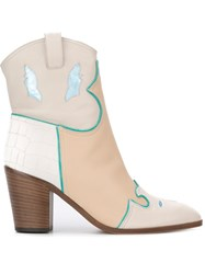 Jean Michel Cazabat Texas Boots Nude And Neutrals