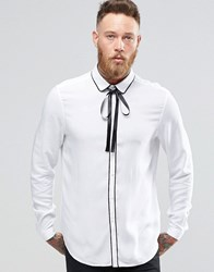 Asos White Shirt In Viscose With Pussy Bow In Regular Fit White