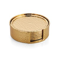 Michael Aram Set Of 6 Goldtone Hammertone Drink Coasters