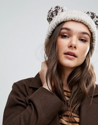 Helene Berman Chunky Knit Beanie Hat With Double Pom Pom Beige