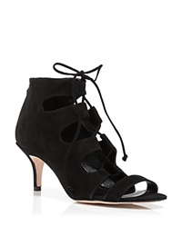 Delman Sandals Tryst Suede Lace Up Mid Heel