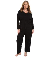Jockey Plus Size Two Piece Cotton Cardigan Pj Set Black Women's Pajama Sets