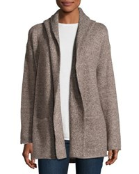 Vince Hooded Ribbed Knit Cardigan Misty Oak