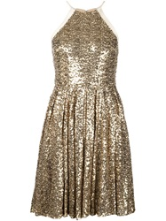 Badgley Mischka Halter Neck Sequin Dress Yellow And Orange
