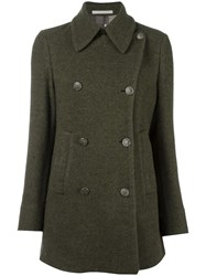 Massimo Alba Double Breasted Mid Peacoat Green