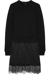 Clu Lace Trimmed Cotton Jersey And Washed Silk Dress Black