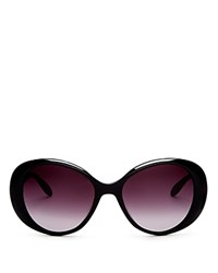 Moschino Scattered Logo Oval Sunglasses 56Mm Black Smoke Gradient Lens