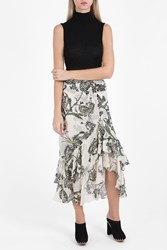 Erdem Cerena Lurex Floral Skirt White