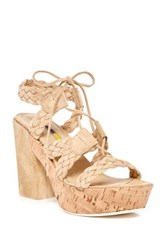 Manas Design Platform Lace Up Sandal Beige