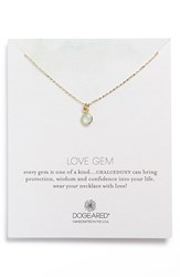 Women's Dogeared 'Love Gem' Semiprecious Stone Pendant Necklace Green Chalcedony Gold