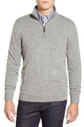 John W. Nordstrom Quarter Zip Cashmere Sweater Regular And Tall Gray
