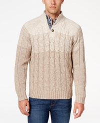 Weatherproof Vintage Men's Big And Tall Cable Knit Sweater Only At Macy's Ivory