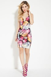 Forever 21 Tiger Mist Butterfly Print Cami Dress White Multi