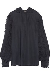 Just Cavalli Pussy Bow Ruffled Silk Crepe Blouse Midnight Blue