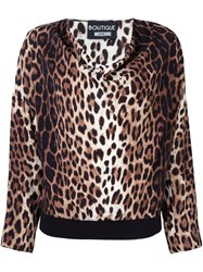 Boutique Moschino Leopard Print Blouse Brown