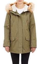 Barneys New York Fur Trimmed Hooded Anorak Green
