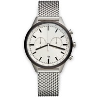 Uniform Wares C41 Pvd Grey Chronograph Watch Milanese Mesh Bracelet Strap