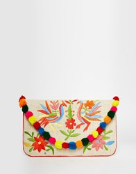 Moyna Embroidered Jute Clutch With Pom Pom Trim Multi