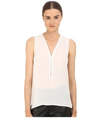 The Kooples Mixed Materials Woven Jersey Tank Top White