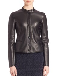 Armani Collezioni Snap Front Nappa Leather Jacket Black