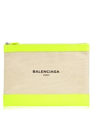 Balenciaga Canvas And Leather Pouch Yellow