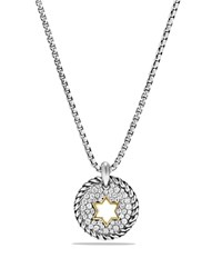 David Yurman Cable Collectibles Star Of David Charm Necklace With Diamonds With 18K Gold White Gold