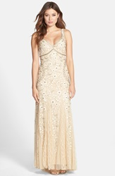 Sue Wong Beaded Mesh Gown Beige