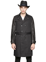 Leather And Cotton Gabardine Trench Coat Black