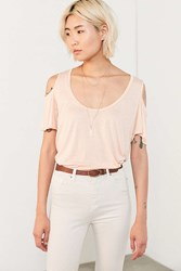 Project Social T Liza Cold Shoulder Tee Peach
