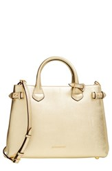 Burberry 'Medium Banner' House Check Metallic Leather Tote