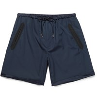 Gucci Silk Faille Trimmed Cotton Shorts Blue