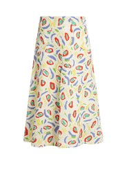 Duro Olowu Abstract Bird Print Cloque Midi Skirt White Multi