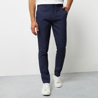 River Island Mens Navy Check Smart Skinny Trousers