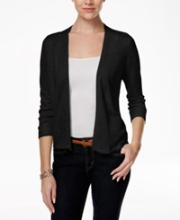 Charter Club Crochet Trim Open Cardigan Only At Macy's Deep Black