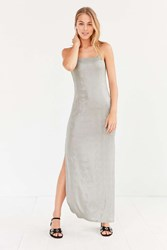 Silence And Noise Posh Metallic Maxi Dress Silver