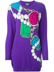 Boutique Moschino Jewellery Intarsia Sweater Dress Pink And Purple