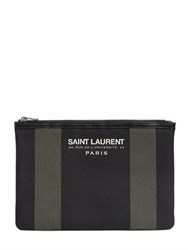 Saint Laurent Beach Cotton Canvas Clutch