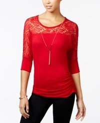 Amy Byer Bcx Juniors' Ruched Lace Necklace Top Red