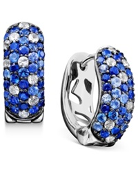 Effy Collection Saph Splash By Effy Shades Of Sapphire Hoop Earrings 2 3 4 Ct. T.W. In Sterling Silver Blue