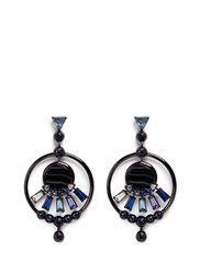 Eddie Borgo 'Europa' Agate Cubic Zirconia Hoop Earrings Black