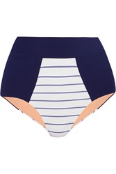 Lucas Hugh High Rise Pinstripe Paneled Bikini Briefs Blue