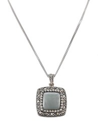 Lord And Taylor Sterling Silver Marcasite Jade Square Pendant
