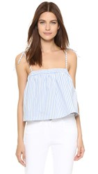 Milly Pinstripes Tied Crop Top Blue