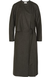 Christophe Lemaire Wool Felt Wrap Dress Charcoal