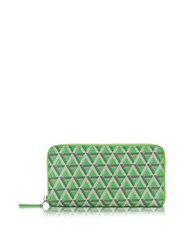 Lancaster Paris Ikon Coated Canvas And Leather Zip Around Continental Wallet Green