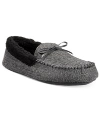 Club Room Men's Herringbone Bomber Moccasin Slippers Only At Macy's Blk Herrin